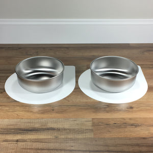 Mini pet bowl mat with 2 large bowls