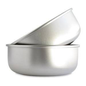 Basis Pet Stainless Steel Dog Bowl Made in USA Large 2-pack