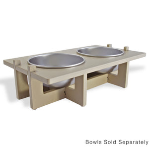 Rise Pet Bowl Stand For Medium Bowls, Double Bowl Side View