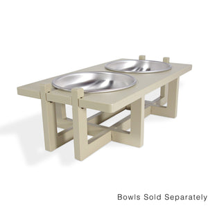 Bowl Stand for Small Dog and Cat Bowls, Double Bowl High Side View