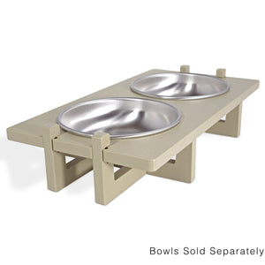 Bowl Stand for Small Dog and Cat Bowls, Double Bowl Side View