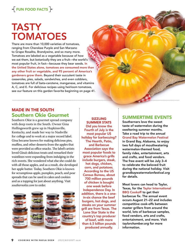 Gina's Gourmet featured nationwide in Cooking with Paula Deen Magazine July/August 2016 Issue