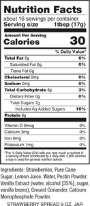 Gina's Gourmet 9 oz Strawberry Spread Nutrition Facts