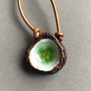 Green Glass Necklace #1 - Leather Cord - Jewelry