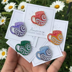 Swirl Mug Enamel Pin (You Choose Color)