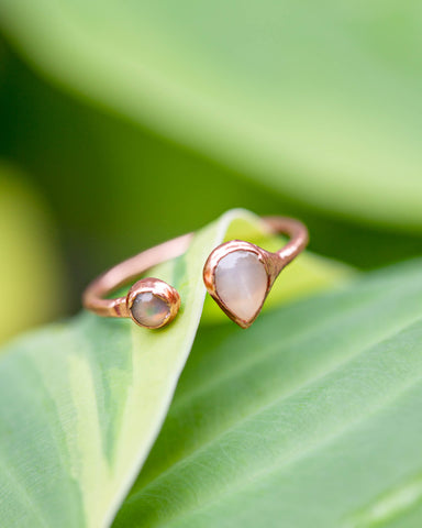 Inner Compass Ring • Peach Moonstone & Opal