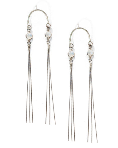 Quartz Threader Earrings • Silver