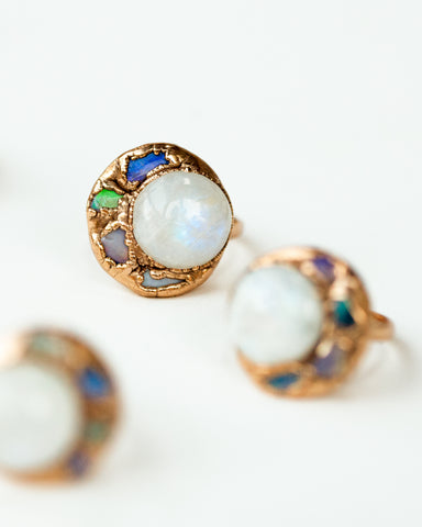 Seven Wonders Ring • Rainbow Moonstone & Gold
