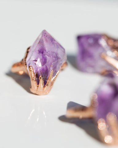 Raw Amethyst Claw Ring • Rose Gold