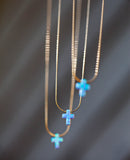 Blue Opal Cross Necklace