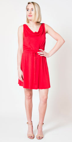 red drawstring dress by michael stars