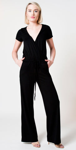 black drawstring jumpsuit by michael stars