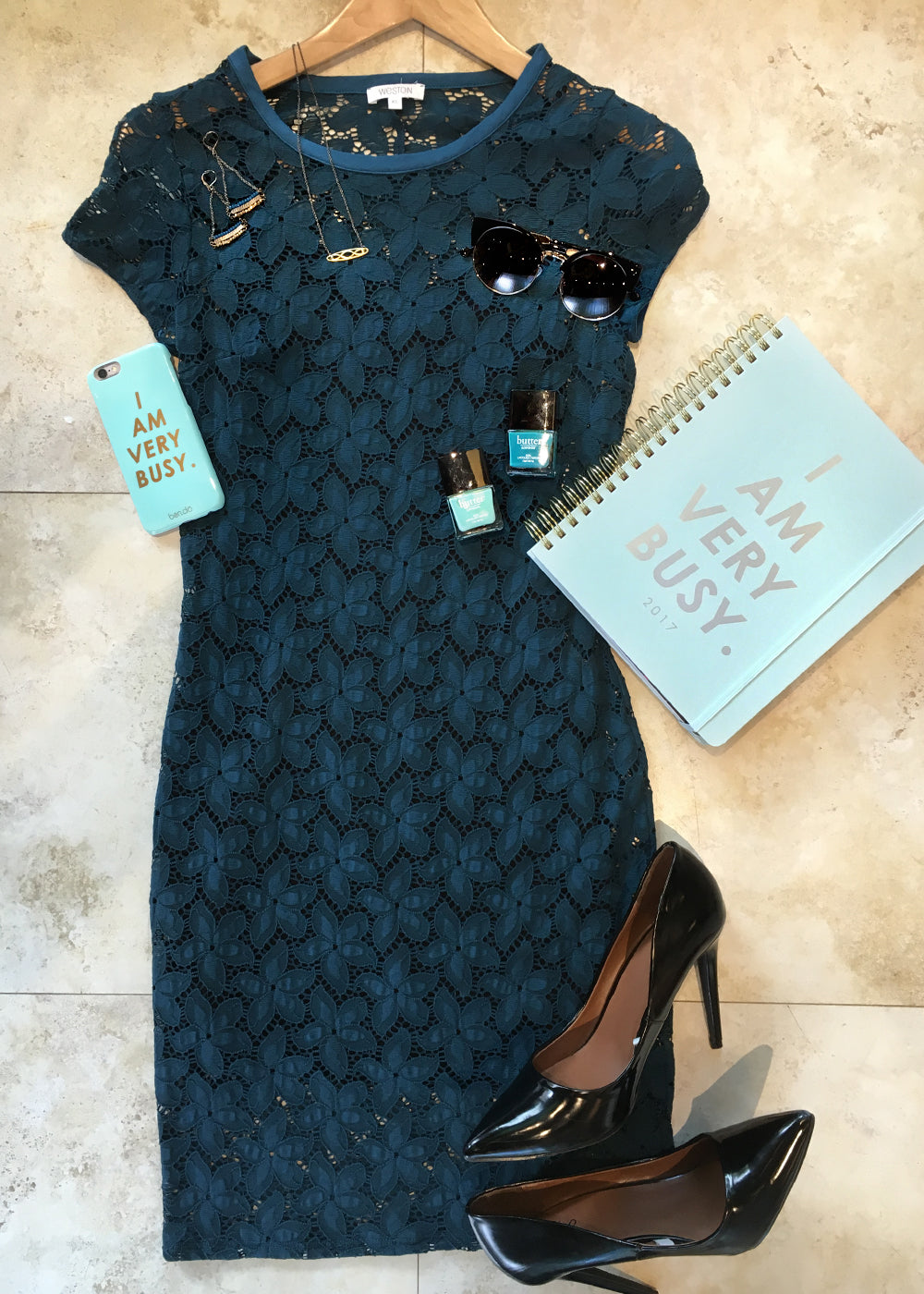blue lace weston dress and ban do accessories