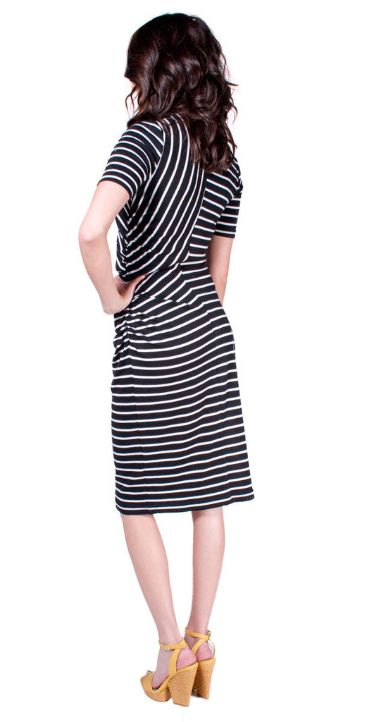 Tiffany Bean Megan Side Shirred Striped Dress