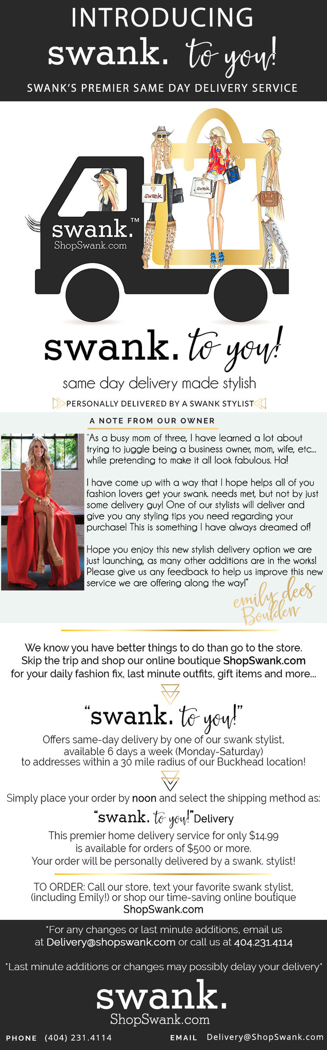 Introducing... swank. to you! Swank's premier same-day delivery service by a swank. stylist!