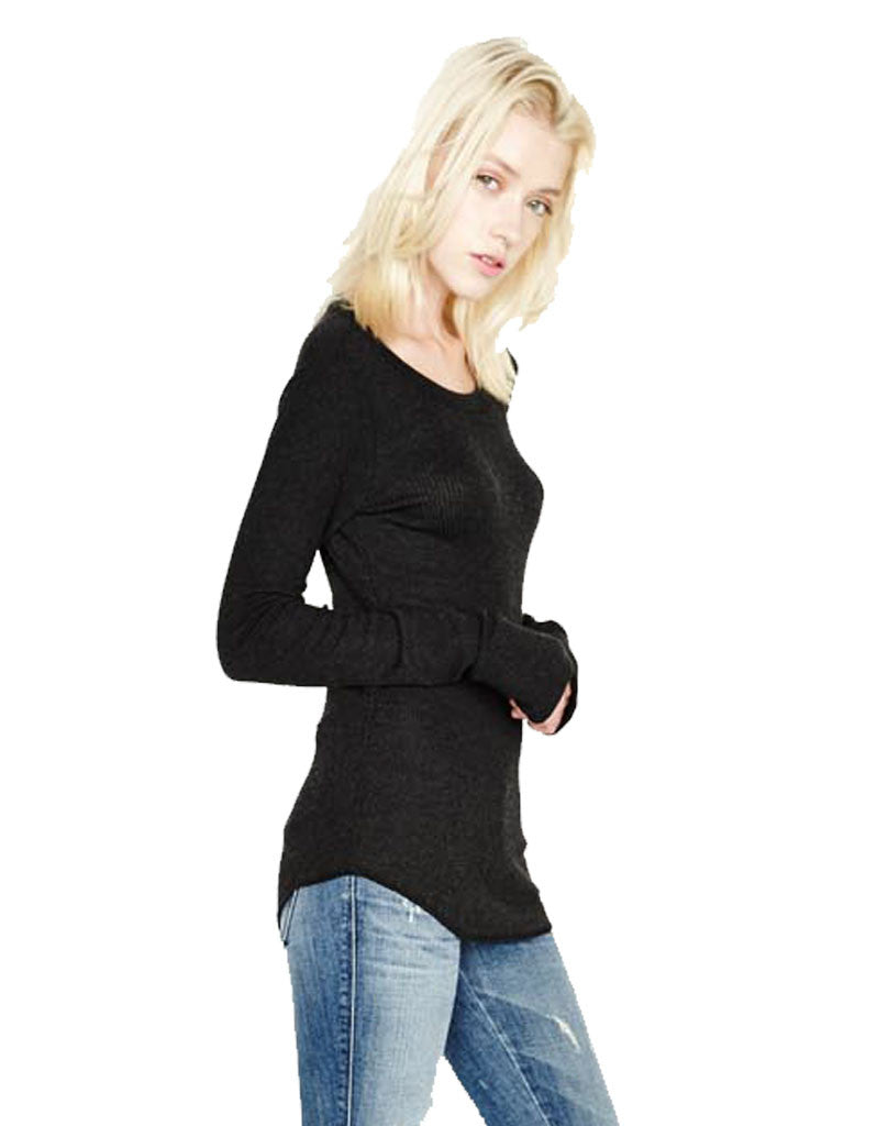 Michael Lauren Alick L/S Crew Neck Top in Charcoal - SWANK - Tops - 1
