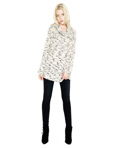 Michael Lauren Jase Oversized Cowl Neck Sweater in Natural/Slate