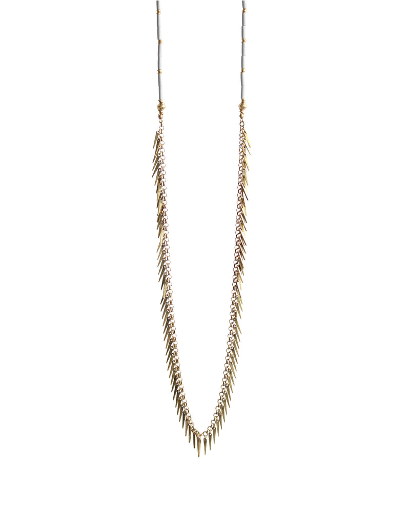 Jenny Bird Palm Rope Necklace in Gold/Grey - SWANK - Jewelry - 1