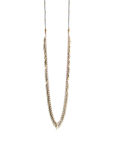 Jenny Bird Palm Rope Necklace in Gold/Grey