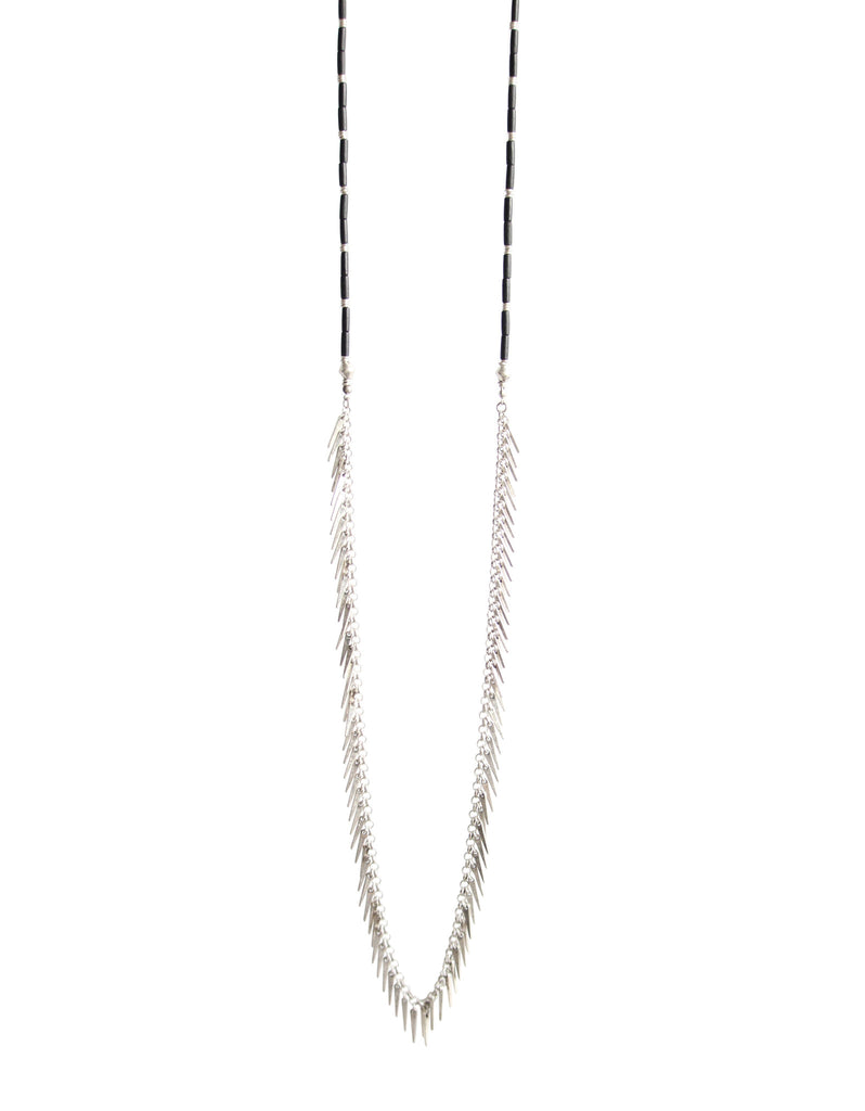 Jenny Bird Palm Rope Necklace in Silver/Black - SWANK - Jewelry