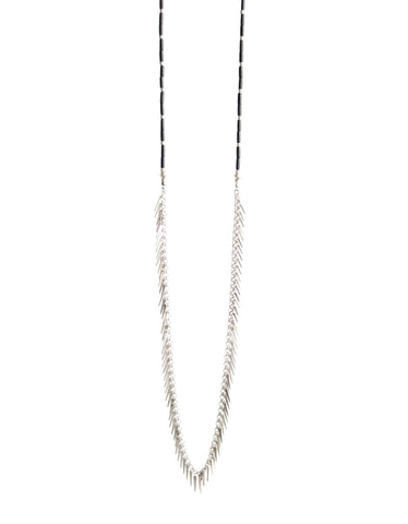Jenny Bird Palm Rope Necklace in Silver/Black