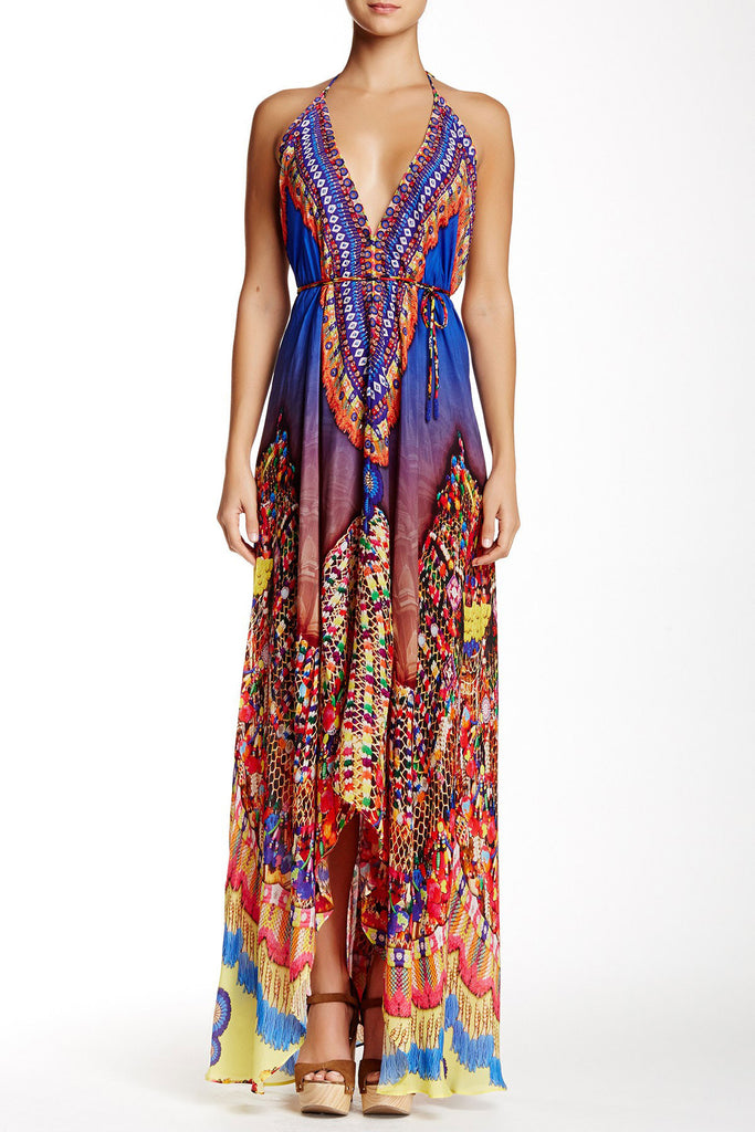 Shahida Parides Heritage 3-Way Style Long Dress in Blue - SWANK - Dresses - 3
