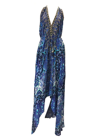 Shahida Parides 3-Way Style Long Dress in Blue