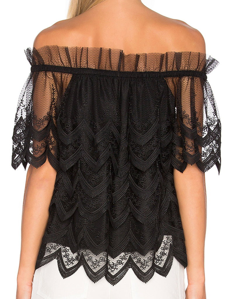Alexis Abelli Lace Top in Black - SWANK - Tops - 4