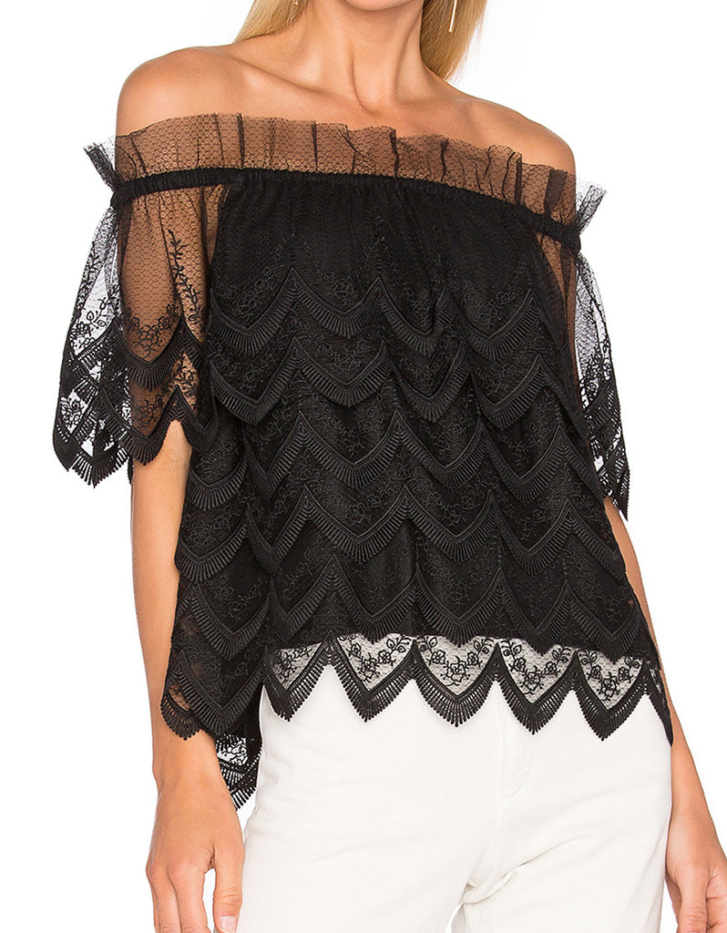 Alexis Abelli Lace Top in Black - SWANK - Tops - 1