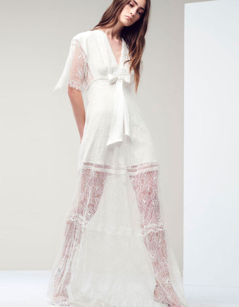 Alexis Cleve Lace Gown in Off White - SWANK - Dresses - 1