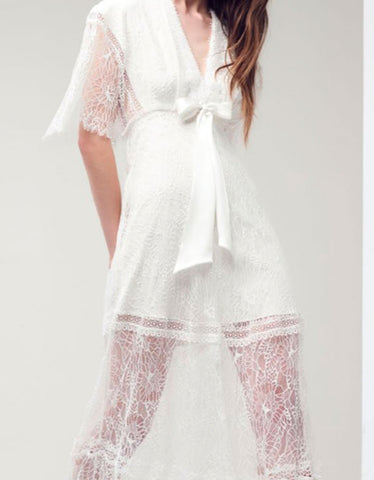 Alexis Cleve Lace Gown in Off White