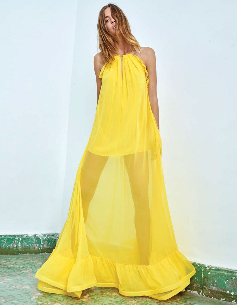 Alexis Gracie Long Dress w/Ruffles in Yellow - SWANK - Dresses - 1
