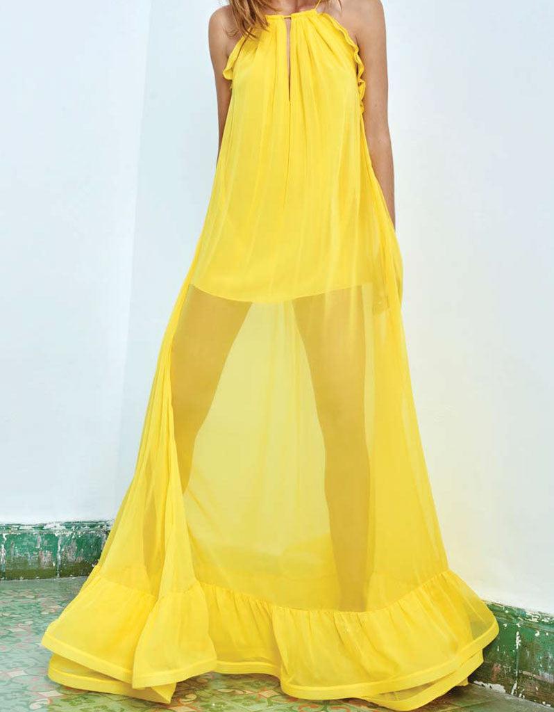 Alexis Gracie Long Dress w/Ruffles in Yellow - SWANK - Dresses - 4