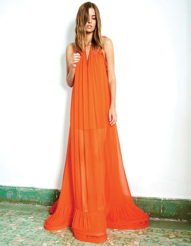 Alexis Gracie Long Dress w/Ruffles in Red Orange