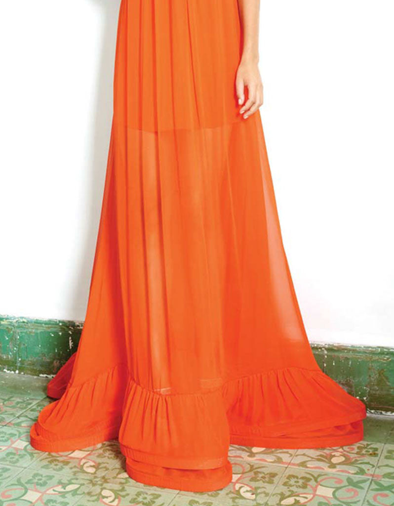 Alexis Gracie Long Dress w/Ruffles in Red Orange - SWANK - Dresses - 2