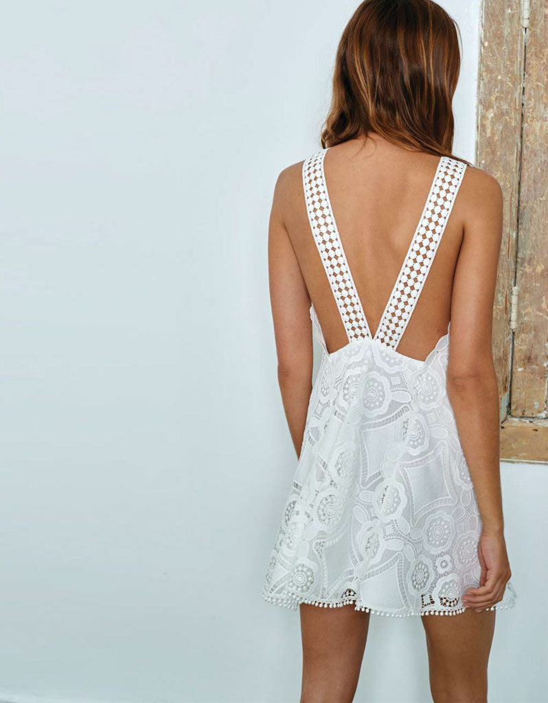 Alexis Iva Short Embroidered Dress in White - SWANK - Dresses - 2