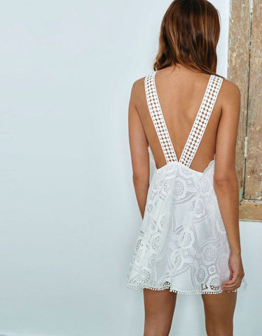 Alexis Iva Short Embroidered Dress in White