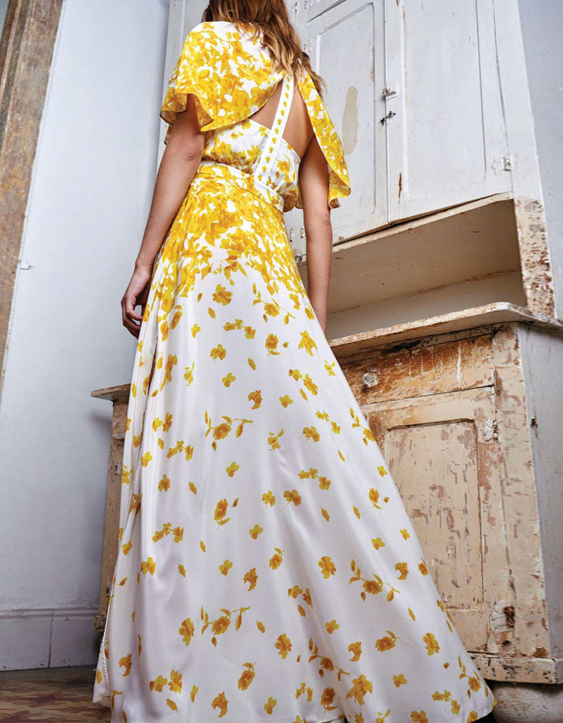 Alexis Jeannie Dress w/Adjustable Cape in Yellow Floral - SWANK - Dresses - 2