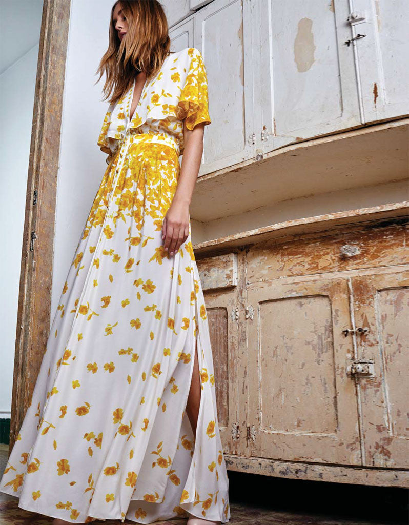 Alexis Jeannie Dress w/Adjustable Cape in Yellow Floral - SWANK - Dresses - 1