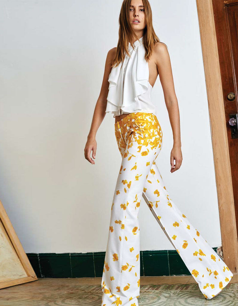 Alexis Kamilla Wide Leg Pants in Yellow Floral - SWANK - Tops - 1