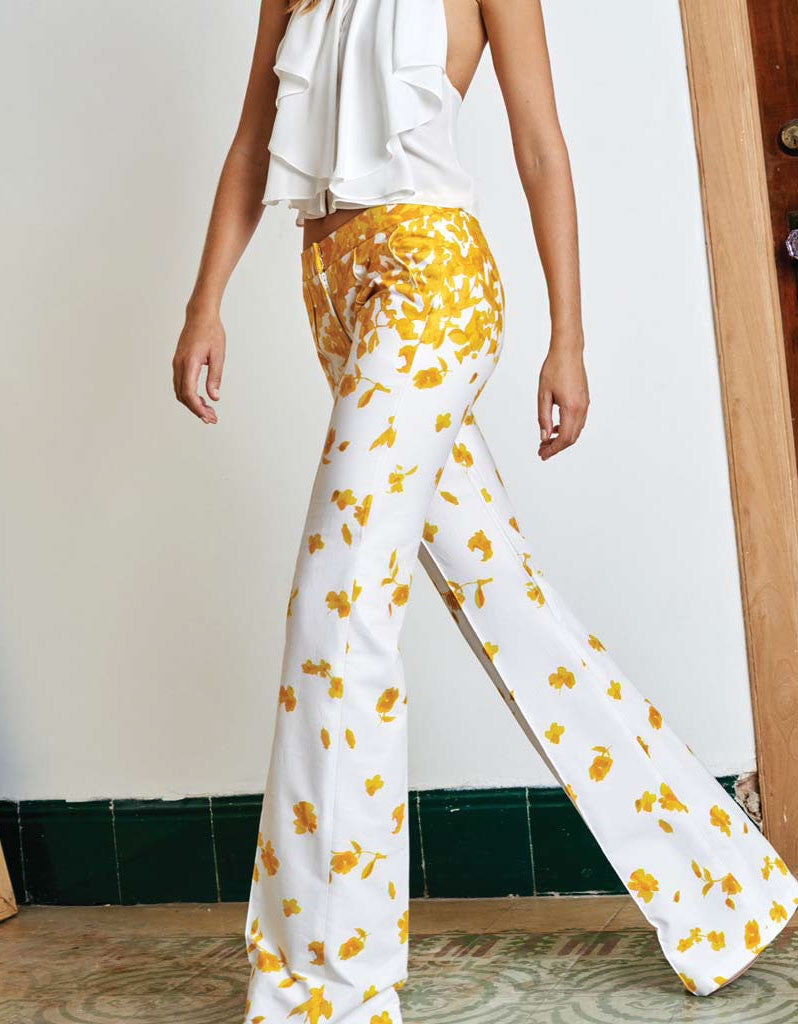 Alexis Kamilla Wide Leg Pants in Yellow Floral - SWANK - Tops - 2