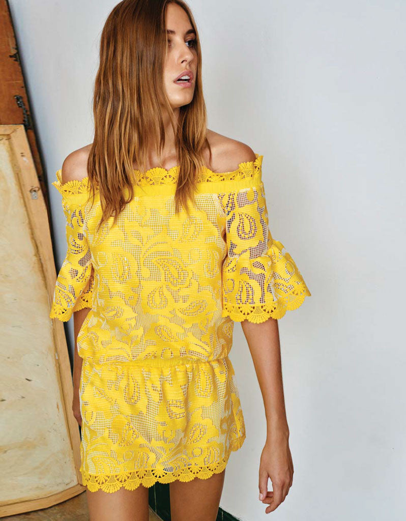 Alexis Kit Off The Shoulder Dress in Yellow Embroidery - SWANK - Dresses - 1