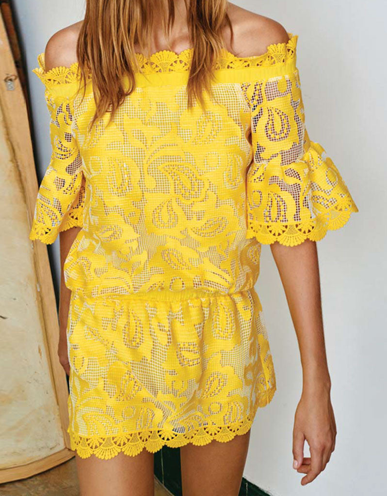 Alexis Kit Off The Shoulder Dress in Yellow Embroidery - SWANK - Dresses - 2
