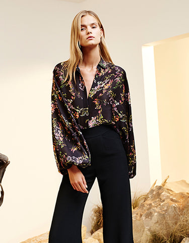 Alexis Nicolette Blouse in Blooming Black