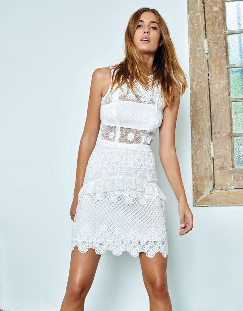 Alexis Saria Dress in White Embroidery - SWANK - Dresses - 1