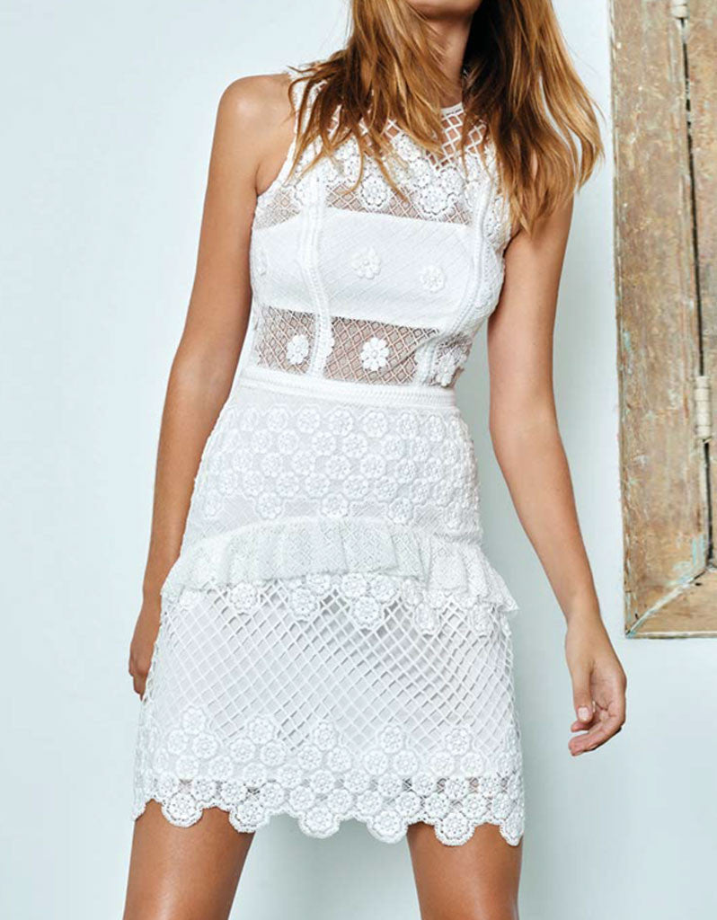 Alexis Saria Dress in White Embroidery - SWANK - Dresses - 4