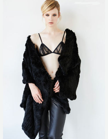 Arielle Draped Cape in Black