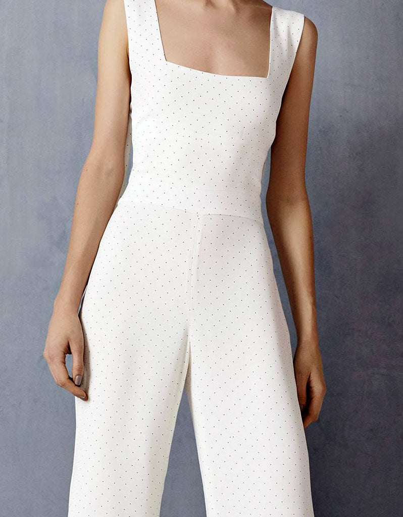 Alexis Lincolm Jumpsuit in White Micro Dot