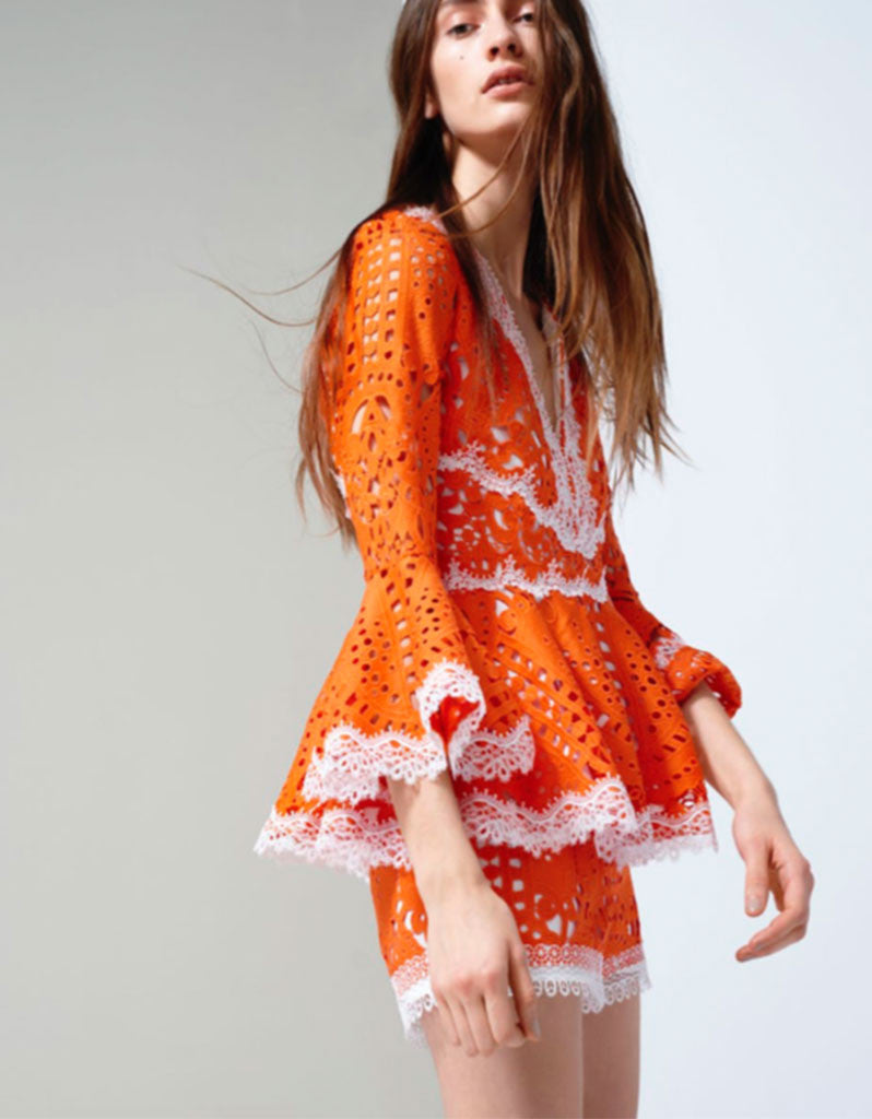 Alexis Alexina Lace Top in Tangerine - SWANK - Tops - 1