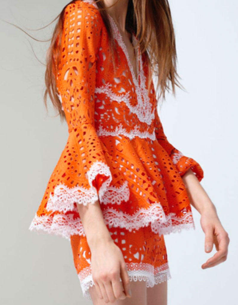 Alexis Alexina Lace Top in Tangerine - SWANK - Tops - 2